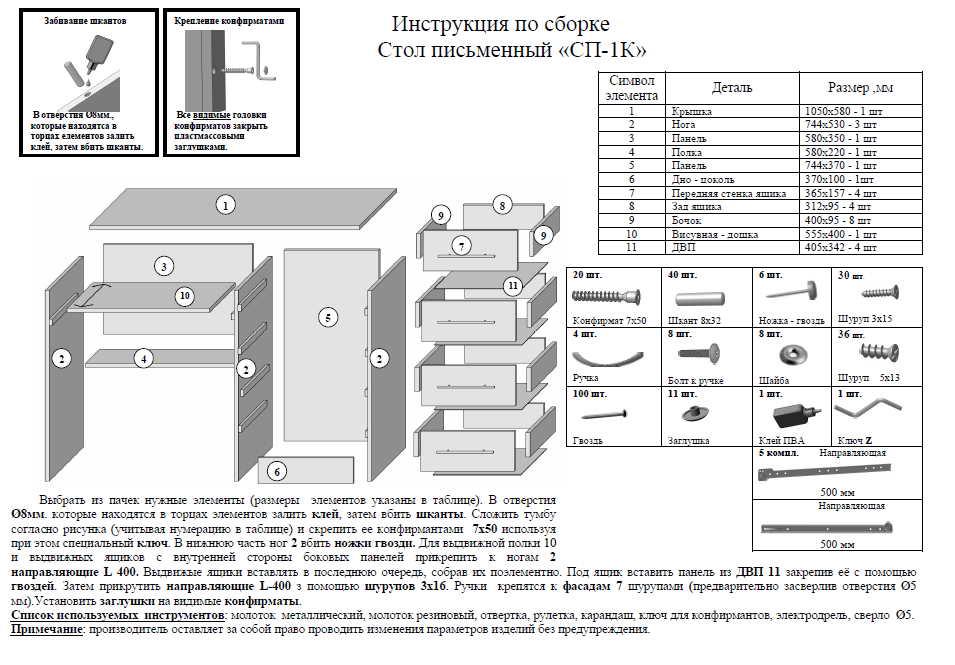инструкция по сборке стола пешта